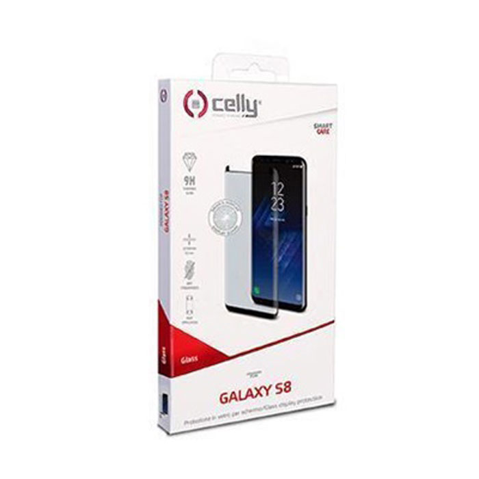 Защитное стекло Celly для Samsung Galaxy S8 SM-G950, 3D, изогнутое по форме дисплея, черная рамка