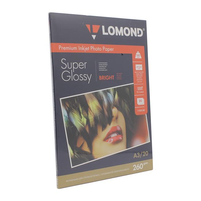 Фотобумага Lomond A3,260гр, 20л белый высокоглянцевое для струйной печати ( 1103130 )