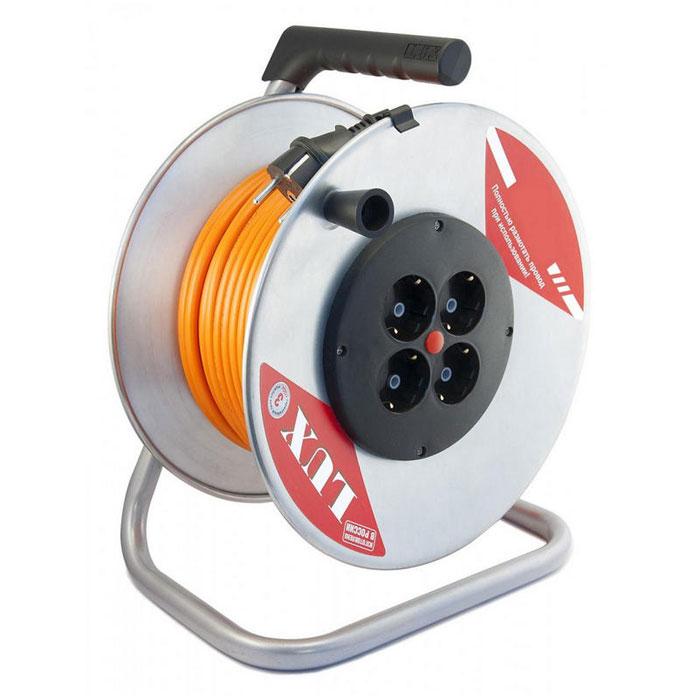 Силовой удлинитель на металлической катушке LUX ПВС 3*1.5мм2 16А 4 розетки с/з 50м