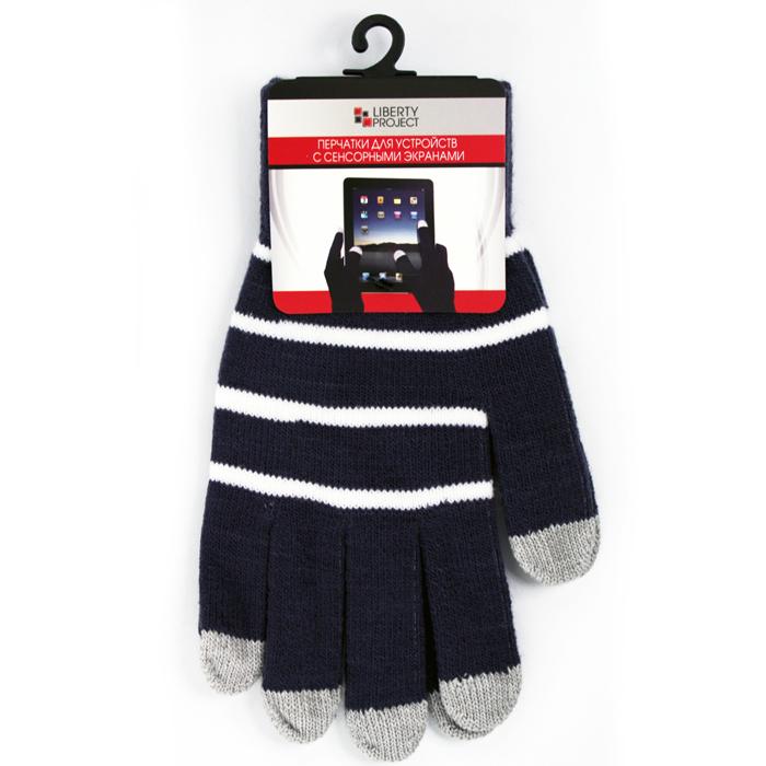 Перчатки для мобильных устройств Liberty цвет черные, с полосками, размер M