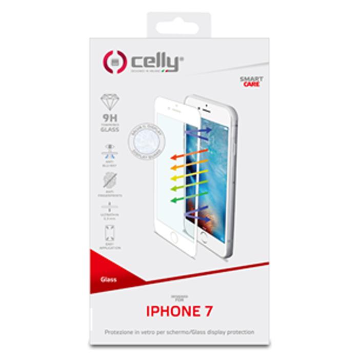 Защитное стекло Celly для iPhone 7 Anti Blue-ray, изогнутое по форме дисплея, черной рамка