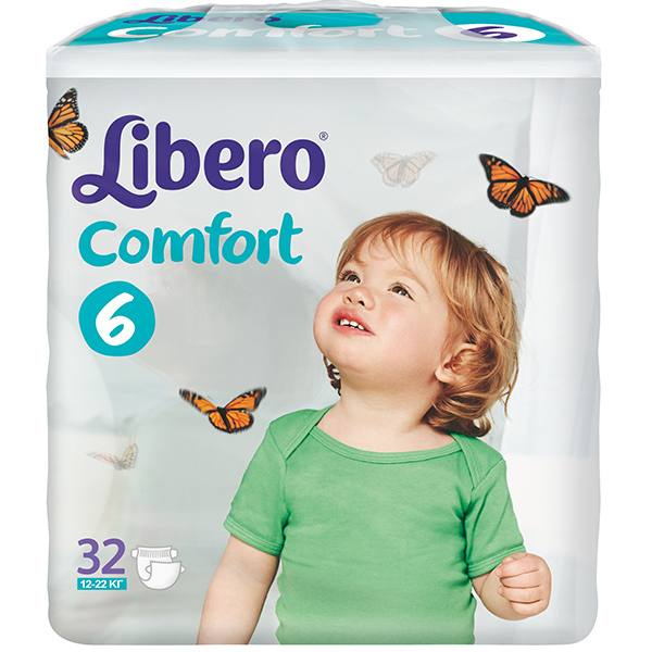 Подгузники Libero Комфорт 12-22 (6) 32шт.