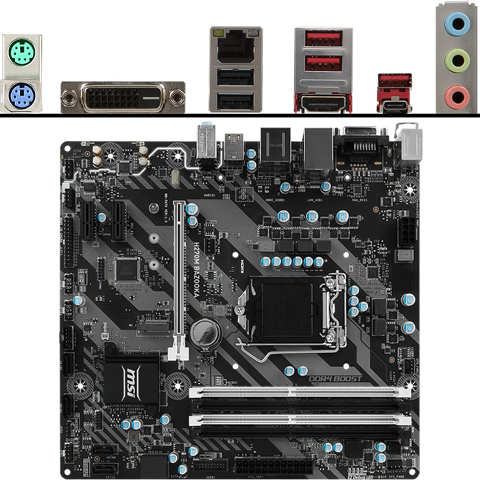 Материнская плата MSI H270 LGA1151 DDR4 ( H270M Bazooka ) mATX, Ret