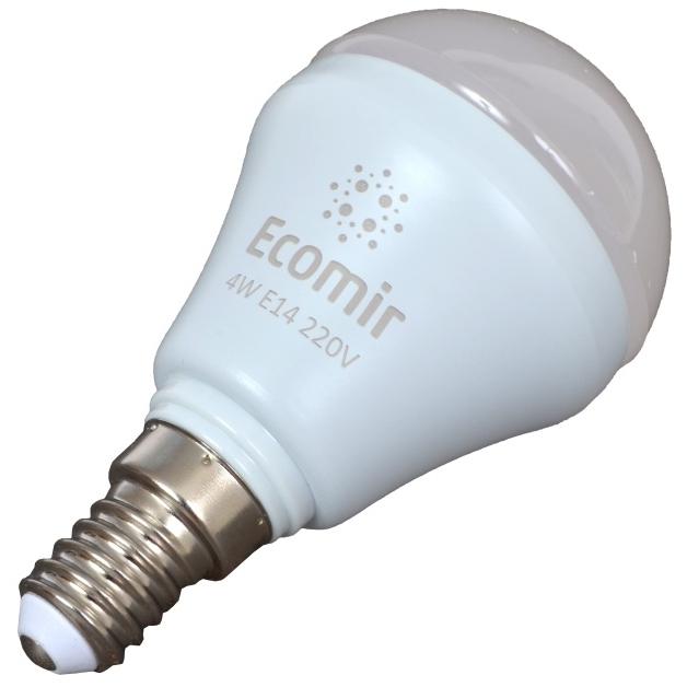Светодиодная LED лампа ECOMIR E14 4W 220V 42906 желтый свет, матовая