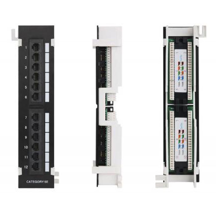 Патч-панель 19″ Netlan EC-UWP-12-UD2 UTP 5e кат., 12 портов, 110/KRONE,T568A/B