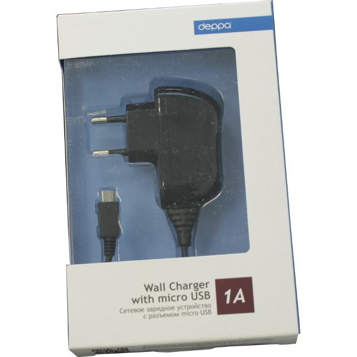 Зарядное устройство cетевое micro USB Deppa 1A черный (23120)