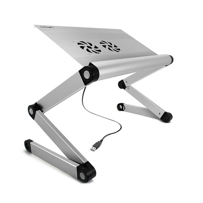 Универсальный стол-подставка Crown CMLS-100 для ноутбука, активное охлаждение, серебристая
