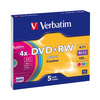 Оптический диск DVD+RW Verbatim 4,7Gb 4x Slim Case Color 43297 5шт